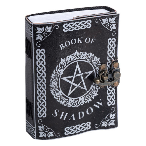 "Leather Journal White Pentagram ""Book of Shadow"" with Clasp Lock Handmade Parchment - 120 Pages - 13cm x 17.5cm"