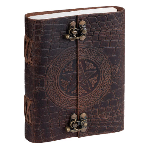 Leather Journal Pentagram with Double Clasp Lock Handmade Parchment - 120 Pages - 13cm x 17.5cm