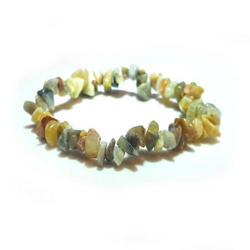 Crazy Lace Agate Gemstone Chip Stretch Bracelet