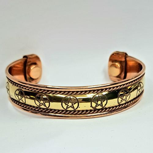 Pentacle Copper and Brass Cuff Bracelet
