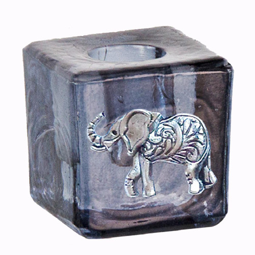 Chime Wish Candle Holder Glass Grey Elephant 3cm x 3cm