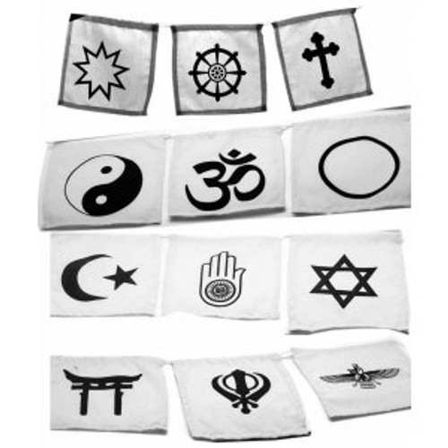 Interfaith White Cotton Prayer Flags 15cm x 15cm