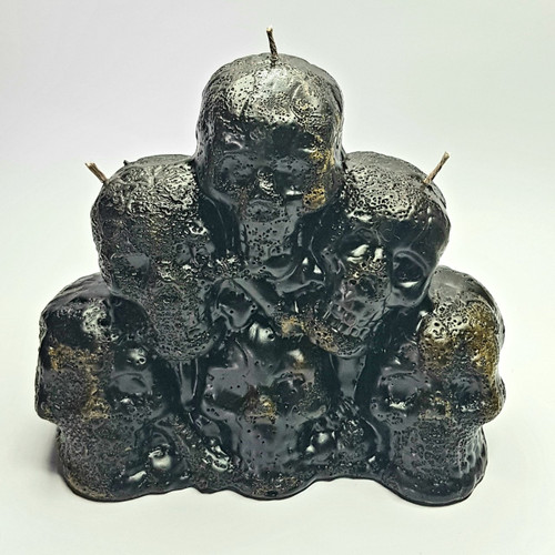 Stack of Skulls Black Candle Hand Made - Non-Toxic