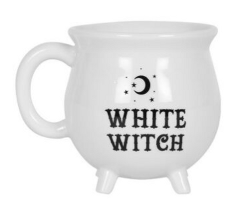 "Ceramic White Cauldron Mug ""White Witch"""