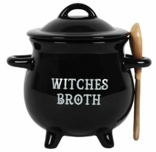 "Black Ceramic Soup Bowl with Spoon ""Witches Broth"""