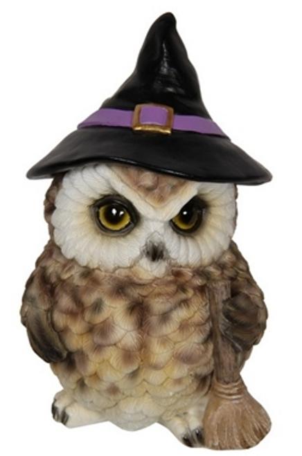 Owl Witch Figurine 17cm Brown