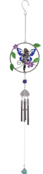 Fairy in Ring Wind Chime Pewter Look 75cm