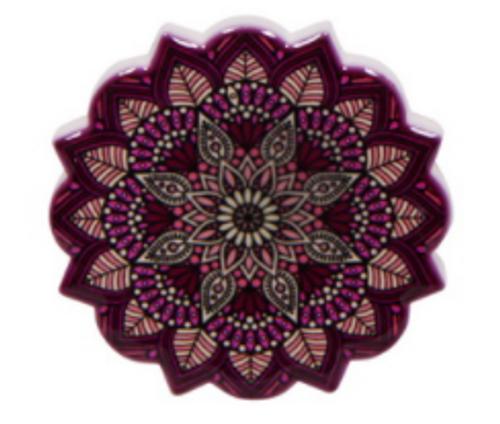 Ceramic Mandala Magnet Maroon 6cm