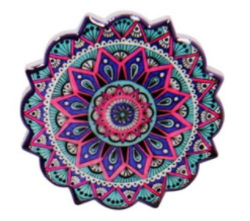 Ceramic Mandala Magnet Pink 6cm