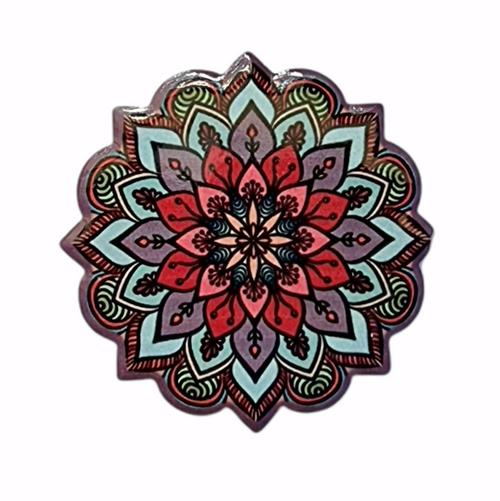 Ceramic Mandala Magnet Purple 6cm