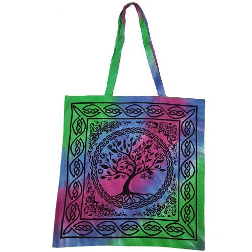 Multi Faith Tree of Life Tie Dye Tote Bag