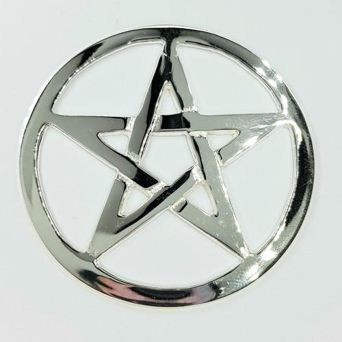 Silver Plated Cut Out Pentagram Altar Tile Thin 7.5cm