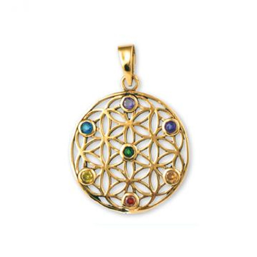 Solid Bronze Pendant Flower of Life with 7 Chakra