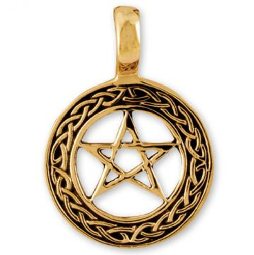 Solid Bronze Pendant Celtic Pentacle 2.5cm