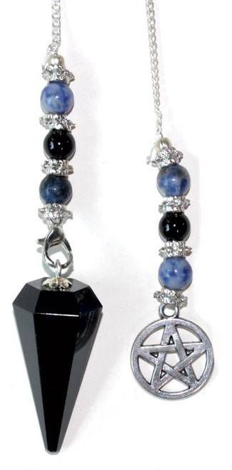 Pendulum Black Obsidian with Pentacle 30cm