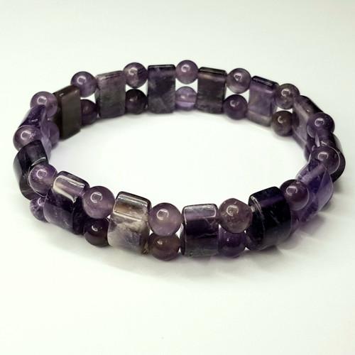 Amethyst Combination Gemstone Chip Stretch Bracelet