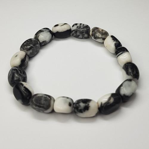 Zebra Jasper Black and White Gemstone Small Nugget Stretch Bracelet