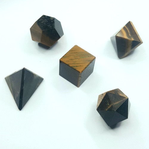 Platonic Solids ~ Set of 5 ~ 1.5-2cm ~ Tiger's Eye
