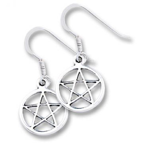 Sterling Silver Hook Earrings Pentacle 1cm