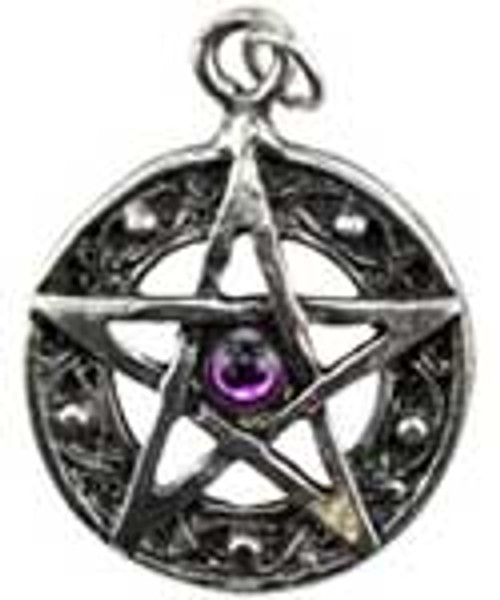 Pewter Pendant Amulet Pentacle Synthetic Stone 2.8cm