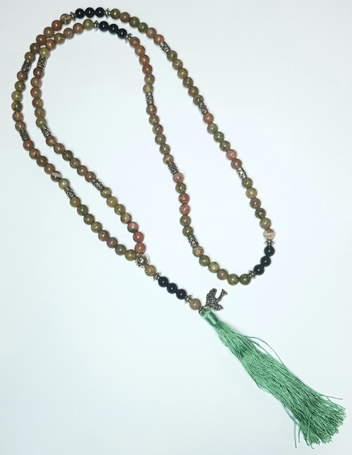 Unakite and Black Onyx Tree of Life Crystal Mala Bead Necklace 102cm