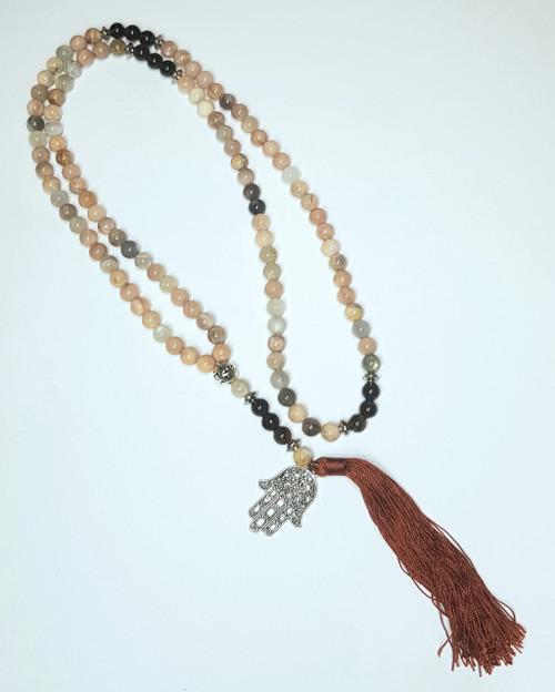 Moonstone and Smoky Quartz Hand of Fatima Crystal Mala Bead Necklace 92cm