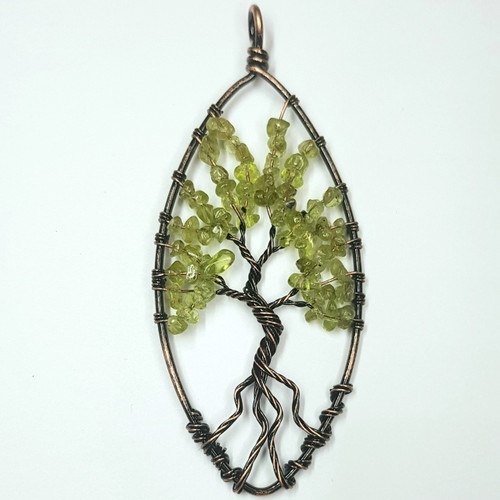 Peridot Wire Wrapped Tree of Life Pendant 7.5cm