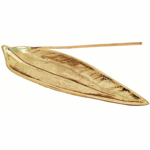 Gold Toned Aluminium Leaf Ash Catcher Incense Burner 25cm