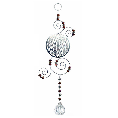 Flower of Life Sun Catcher with Clear Crystal Glass Bead 30cm