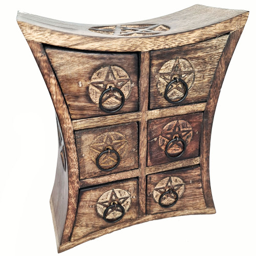 Wooden Chest of Drawers Pentacle 23cm
