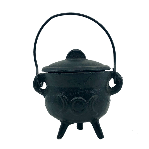 Black Cast Iron Cauldron Small Triple Moon / Sun Moon with Lid 8cm