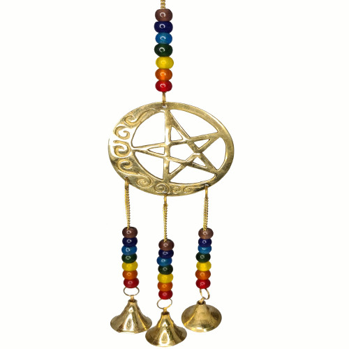 Pentacle and Crescent Moon Brass Wind Chime Bells 32cm