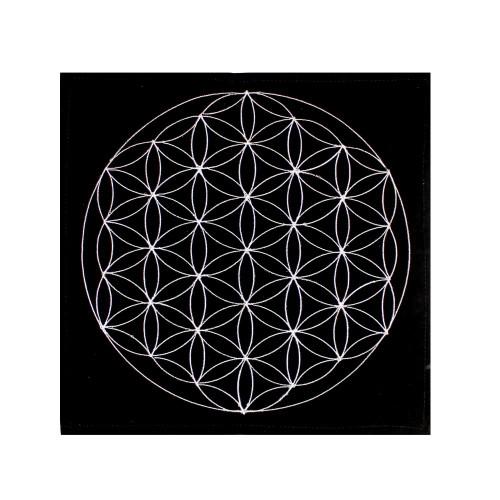 Embroidered Flower of Life Pendulum Mat / Crystal Grid Velveteen 30cm x 30cm