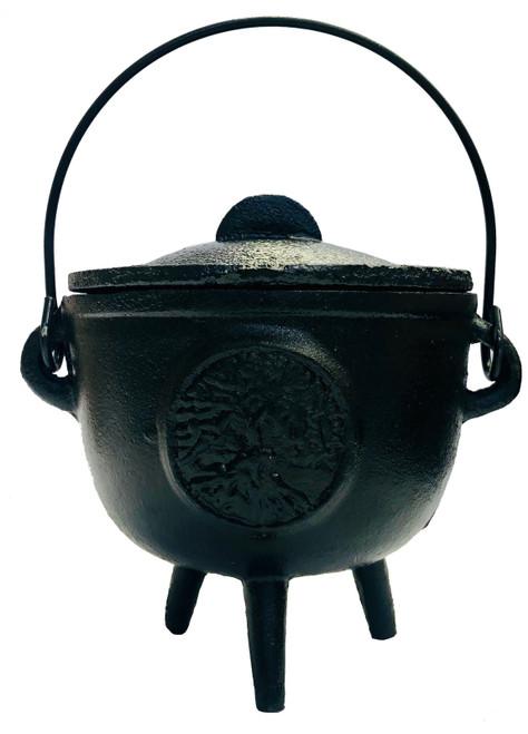 Cast Iron Cauldron Black with Lid Tree of Life 10.5cm