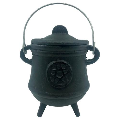 Cast Iron Cauldron Black with Lid Pentacle 13cm