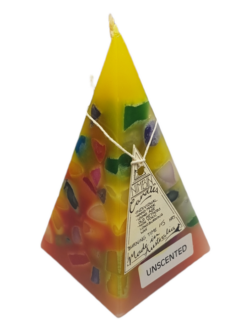 16cm Yellow and Orange Hand Made FUNKY Pyramid Candle - Non Toxic