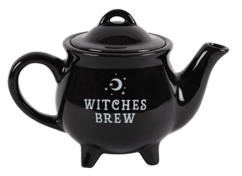 "Black Ceramic Cauldron Teapot ""Witches Brew"" 13cm"