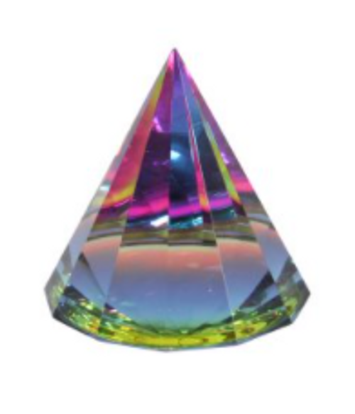 Crystal Glass Pyramid Paperweight Gridding Piece 6cm