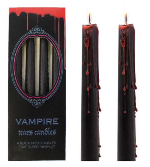 Vampire Tears Taper Candle - Black and Red - Pack of 4 25cm
