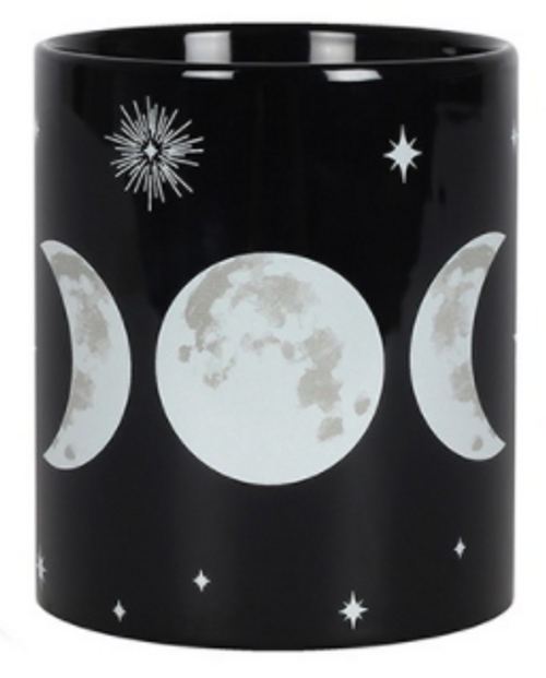 Black Triple Moon Goddess Ceramic Mug