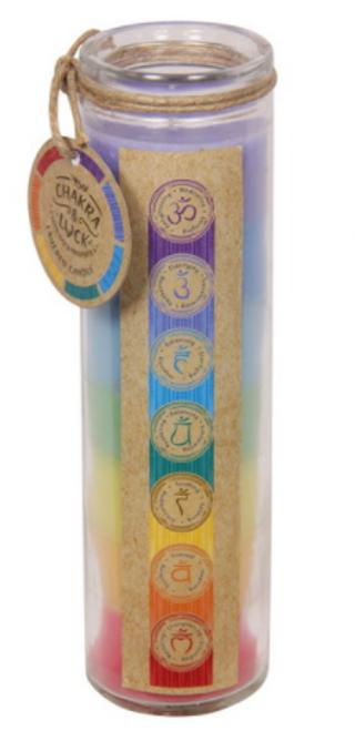 Chakra Layered Candle Glass 20cm