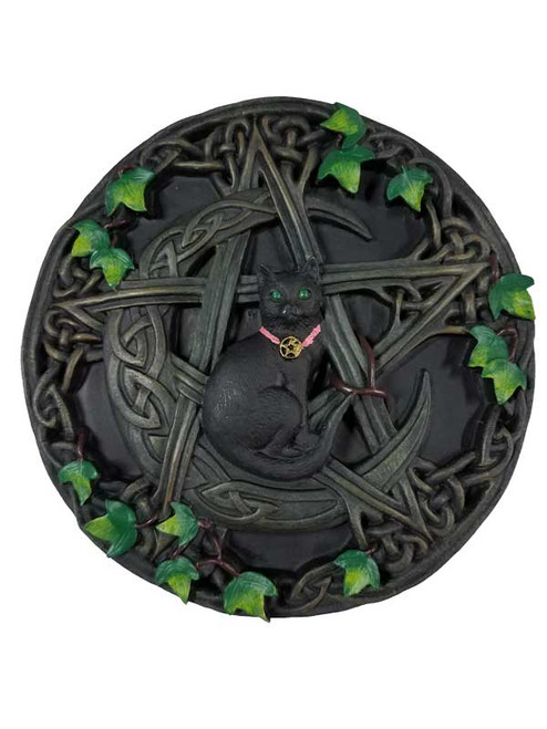 Black Cat and Pentagram Plaque Wall Hanging - 16.5cm