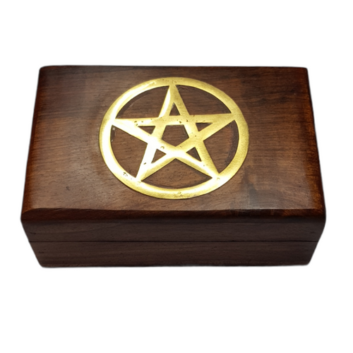 Wooden Brass Inlay Pentacle Jewellery / Tarot Card Box 15cm