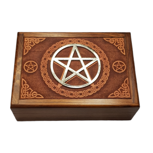 SECONDS Wooden Jewellery / Tarot Card Box Pentacle 17.5cm