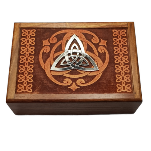 Wooden Jewellery / Tarot Card Box Triquetra 17.5cm