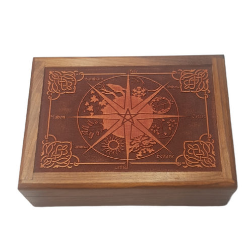 Wooden Jewellery / Tarot Card Box Wheel of the Year 17.5cm