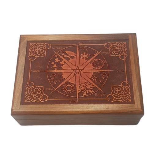 Wooden Jewellery / Tarot Card Box Wheel of the Year 17.5cm