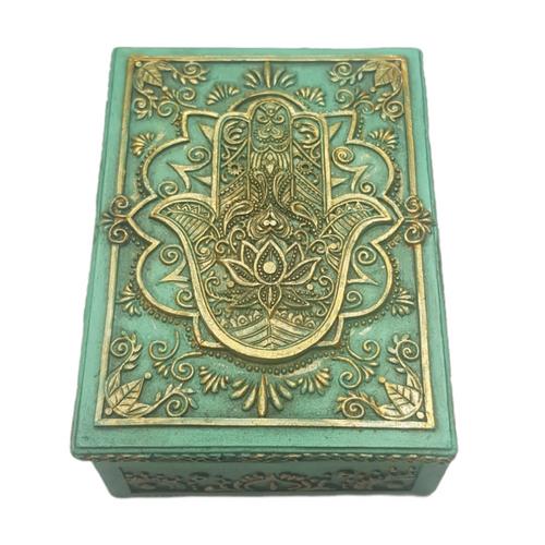 Hand of Hamsa Jewellery / Tarot Card Box Resin 14cm