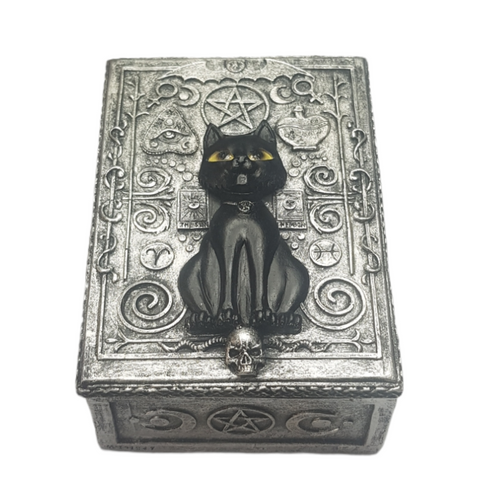 Black Cat Jewellery / Tarot Card Box Resin 13.5cm