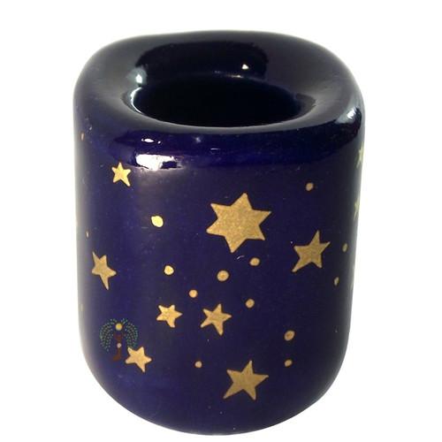 Cobolt Ceramic Stars Chime Candle Holder 43mm